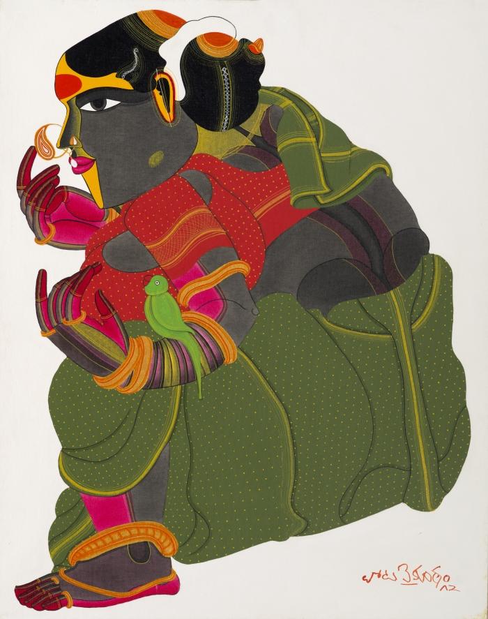 Telangana Woman with Parrot 1