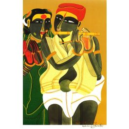 Telangana Woman and Man with Flute